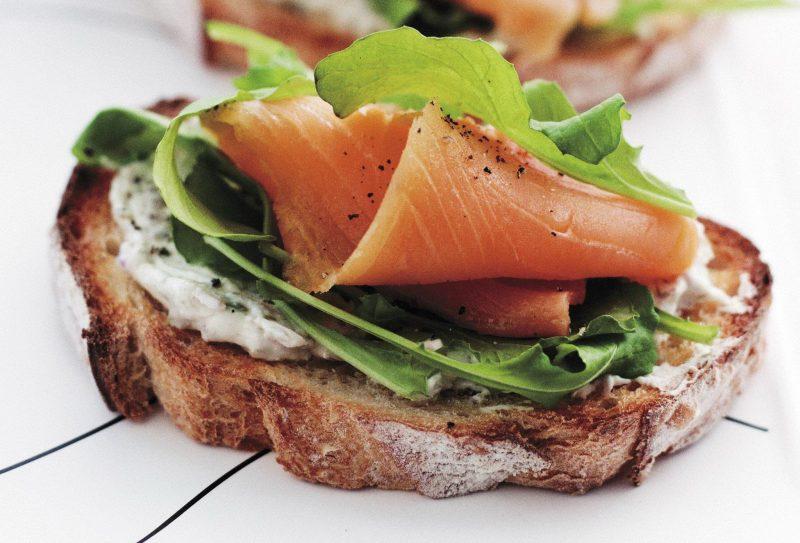 bruschetta-with-smoked-salmon--cream-cheese-and-rocket